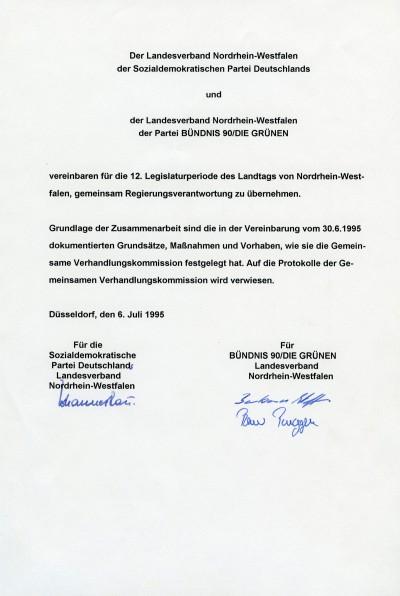 Der unterschriebene Koalitionsvertrag aus dem Jahr 1995