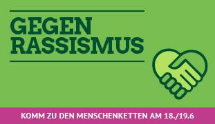 Menschenkette gegen Rassismus am 18./19.6.