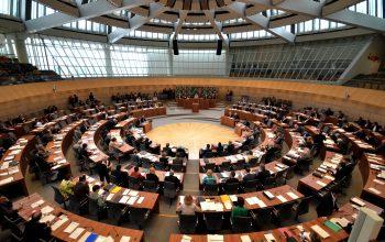 Ein Foto vom Plenarsaal des Landtags NRW.